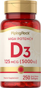 Вітамін Д-3 Piping Rock Vitamin D3 125 mcg (5000 IU) 100 капс.