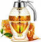 ОПТ Контейнер диспенсер-ємність для меду і соусів з ручкою UKC Honey dispenser об'єм 230 мл скло акрил, фото 7