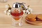 ОПТ Контейнер диспенсер-ємність для меду і соусів з ручкою UKC Honey dispenser об'єм 230 мл скло акрил, фото 9
