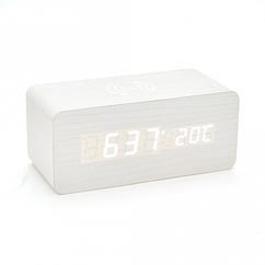 Электронные беспроводные прямоугольные часы с будильником, белые