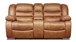 Двухместный диван реклайнер Манхэттен с баром в ткани,с 1 механическим реклайнером, коричневый