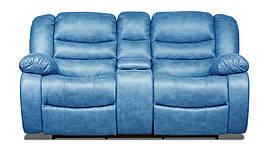 Двухместный диван реклайнер Манхэттен с баром в ткани,с 1 механическим реклайнером, синий