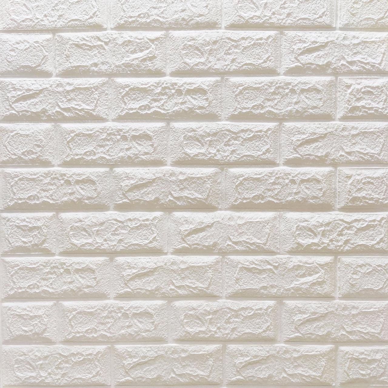 3д панель Глянцевый Белый Кирпич (самоклеющиеся 3d для стен декоративные ПВХ панели) 700x770x5 мм