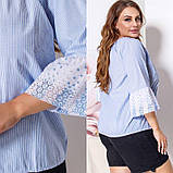 Женская блузка блуза батист + кружево голубого цвета размер: 50-52, 54-56, фото 3