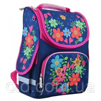 Рюкзак школьный каркасный Smart PG-11 Flowers Синий (554464)
