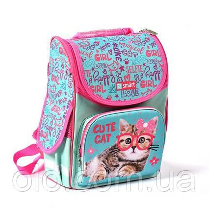 Рюкзак школьный каркасный SMART Бирюзовый с розовым (558052)