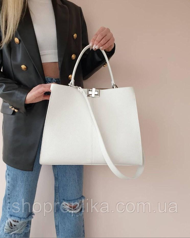 Большая белая кожаная сумка  Италия made in Italy через плечо  женская кожаная сумка через плечо модная сумка