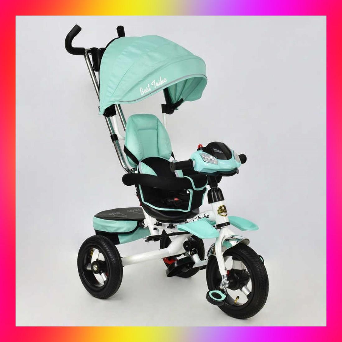 Детский трехколесный велосипед коляска Baby Trike 6699 с игровой панелью и поворотным сиденьем Бирюзовый