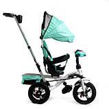 Детский трехколесный велосипед коляска Baby Trike 6699 с игровой панелью и поворотным сиденьем Бирюзовый, фото 2