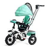 Детский трехколесный велосипед коляска Baby Trike 6699 с игровой панелью и поворотным сиденьем Бирюзовый, фото 7