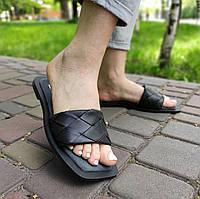 Чорні жіночі шльопанці зі штучної шкіри, фото 1