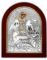 Святой Георгий Икона  Серебряная с позолотой Silver Axion (Греция)  85 х 100 мм