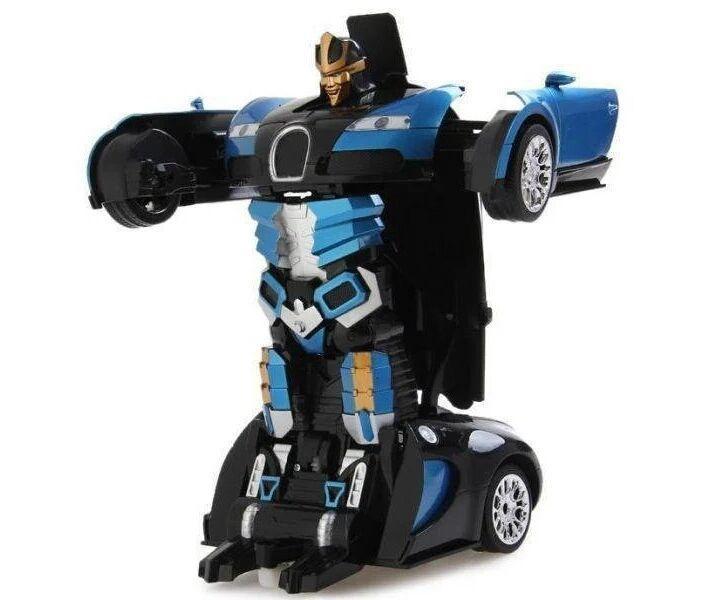 Машинка трансформер Car Robot Bugatti радіокерована Чорно-синя