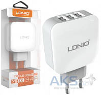 Зарядное LDNio 3 USB Ports Home charger White (DL-AC70)