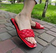 Жіночі червоні шльопанці на низькому ходу, фото 1