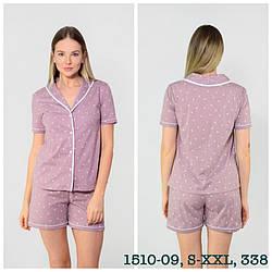 Комплект женской домашней одежды: рубашка с коротким рукавом на пуговицах+шорты,modal, N.EL (размер L)