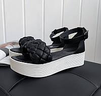 Чорні босоніжки з комбінованої шкіри, фото 1