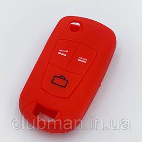 Силиконовый чехол для ключа Opel Astra H Corsa D Vectra C Zafira красный, фото 2