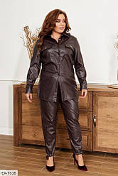 Жіноча шкіряна сорочка з накладними кишенями (Батал)