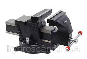 Професійні верстатні лещата механіка 125 мм, поворотна основа