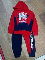 Детский трикотажный спортивный костюм для мальчика на манжетах Not But 2-5 лет, темно-синий с красным