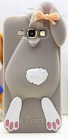 Объемный 3D силиконовый чехол для Samsung Galaxy A7 A7000 Заяц серый