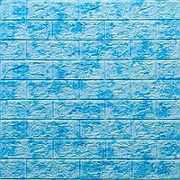 3д панель стеновой декоративный кирпич Голубой Мрамор (самоклеющиеся 3d панели для стен оригинал) 700x770x5 мм