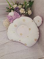 Ортопедична бузково-золота подушка для новонароджених з плюшу