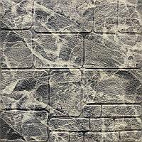 3д панель стеновая декоративная Серый Мрамор Камень (самоклейка 3d панели для стен кладка текстура 700x700x7мм