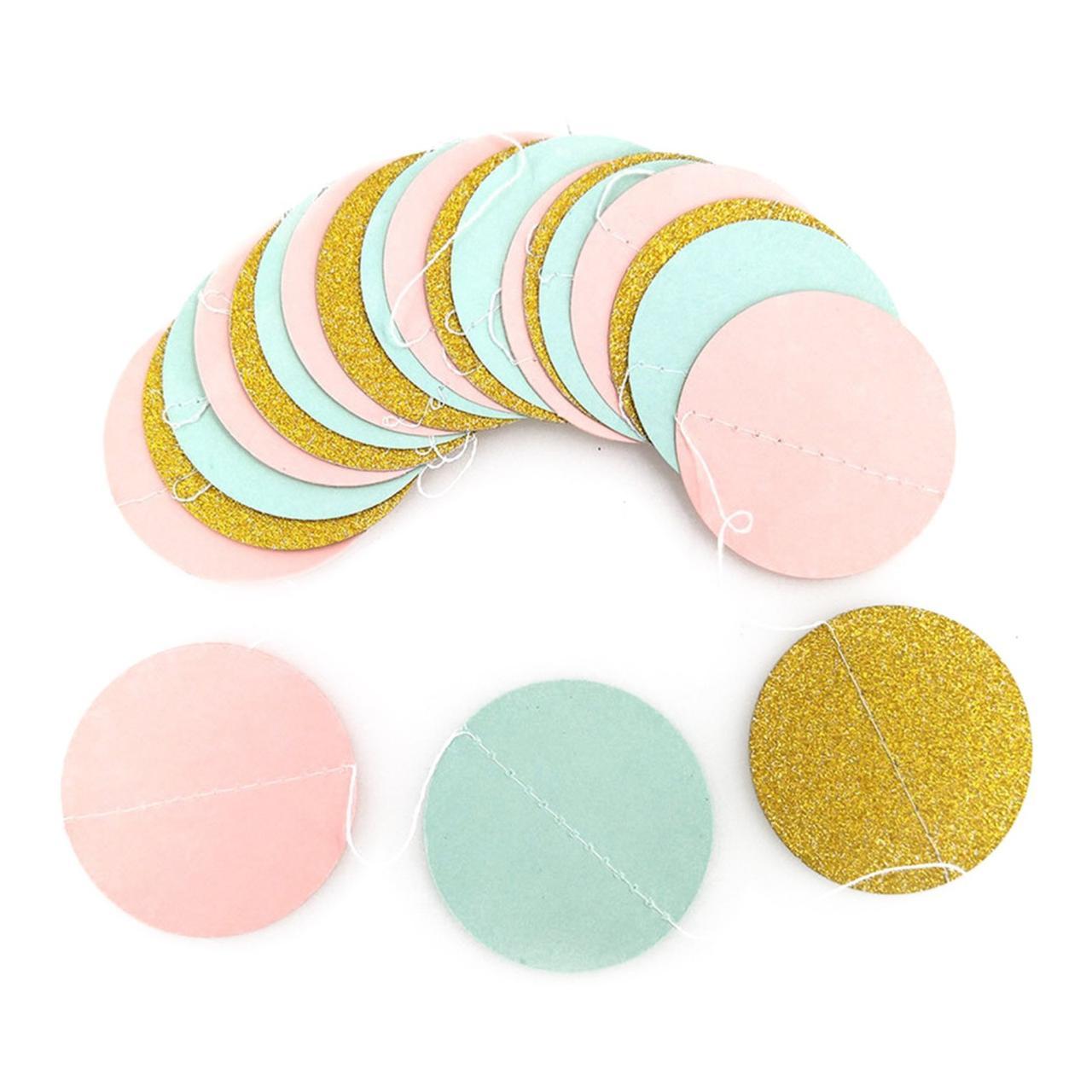Гирлянда бумажная бирюзовая розовая золотая из кружочков