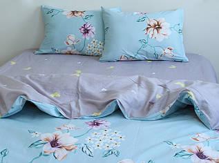 Постільна білизна Квіти на блакитному, сатин
