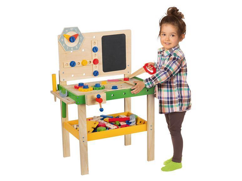 Дерев'яна яна яний іграшковий робочий стіл із годинником 92 елементи PLAYTIVE® JUNIOR Німеччина