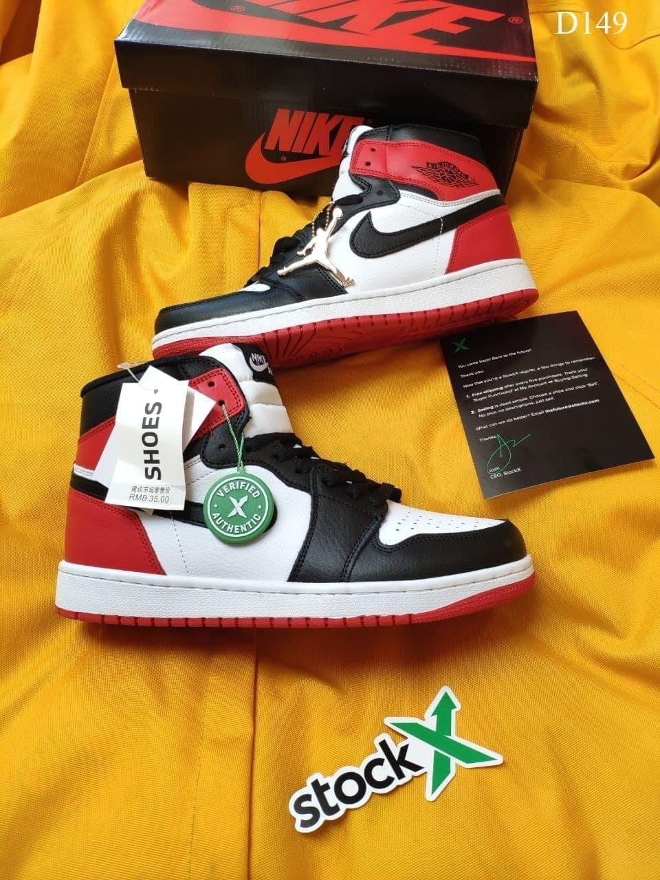 Мужские кроссовки Nike Air Jordan 1 Retro (бело-черные с красным) D149 модные высокие кроссы