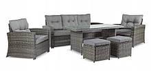 Обідній комплект меблів із ротангу диван, стіл, крісла, пуфи