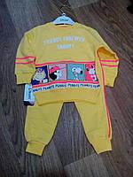 Детский трикотажный спортивный костюм для мальчика на манжетах Snoopy размер 2-5 лет, желтого цвета