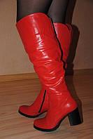 """Ботфорты """"519"""" красные на каблуке натуральная кожа  код 875/1"""