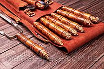 """Набір шампурів """"Бронзові голови"""" в коричневому шкіряному чохлі. Оригінальний, корисний подарунок., фото 2"""