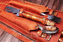 """Набір шампурів """"Бронзові голови"""" в коричневому шкіряному чохлі. Оригінальний, корисний подарунок., фото 3"""