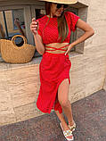 Чорний літній жіночий костюм в горошок спідниця з розрізом і топ 13-413-3, фото 3