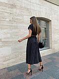 Чорний літній жіночий костюм в горошок спідниця з розрізом і топ 13-413-3, фото 7