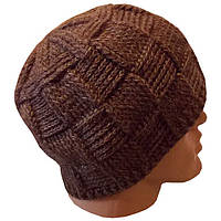 Мужская вязаная шапка на подкладке шикарного коричневого цвета