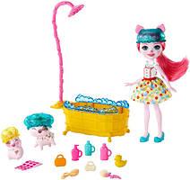 Enchantimals Банный день кукла свинка Игровой набор bathtime Splash Petya pig