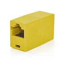 З'єднувач RJ45 8P8C мамо/мама RJ45 для з'єднання кабелю, жовтий, Q100