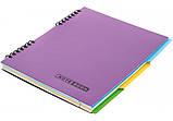 Блокнот B5, пластиковая обложка, 3 разделителя, евроспираль, 120 листов, блок - клетка с полями  E20225, фото 2