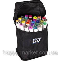 Набір двосторонніх маркерів BV800-30 кольорів для малювання (круглий+скошений.) квадратний у сумці