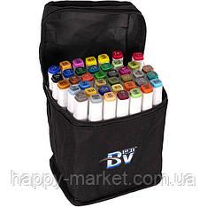 Набір двосторонніх маркерів BV800-40 кольорів для малювання (круглий+скошений.) квадратний у сумці