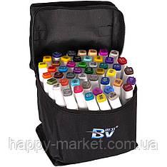 Набір двосторонніх маркерів BV800-48 кольорів для малювання (круглий+скошений.) квадратний у сумці