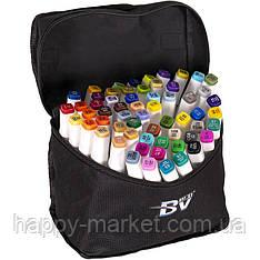 Набір двосторонніх маркерів BV800-60 кольорів для малювання (круглий+скошений.) квадратний у сумці