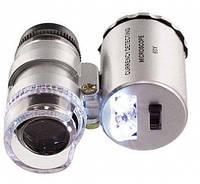 Карманный мини микроскоп 60х с led подсветкой