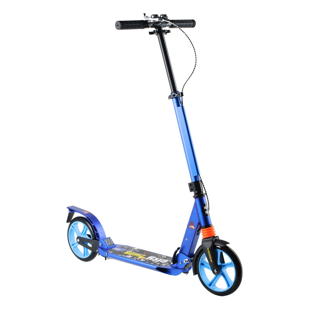 Самокат для детей от 5 лет двухколесный iTrike со складным рулем амортизаторами и PU колесами